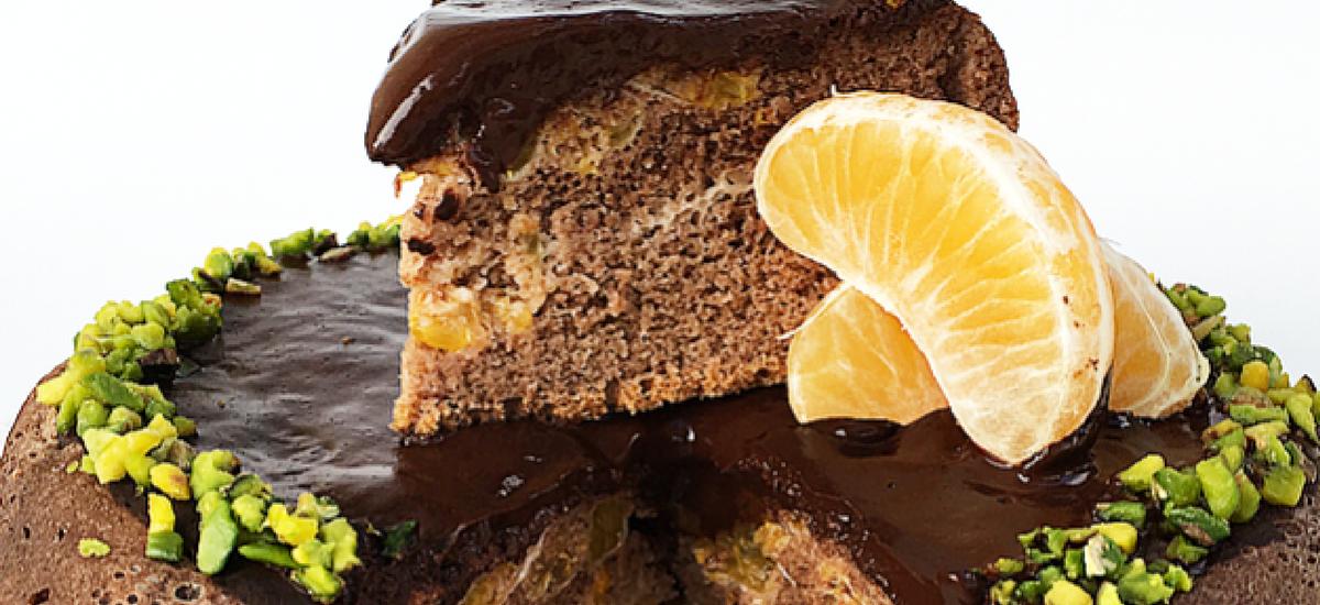 Pancake al mandarino, cioccolato fondente e pistacchi.