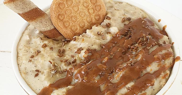 Risolatte all'anice, cannella e pera con crema di nocciole.