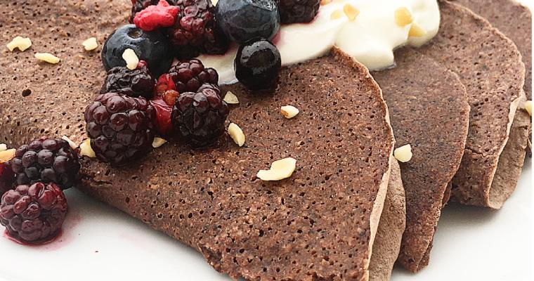 Crepes al cacao con farina di canapa