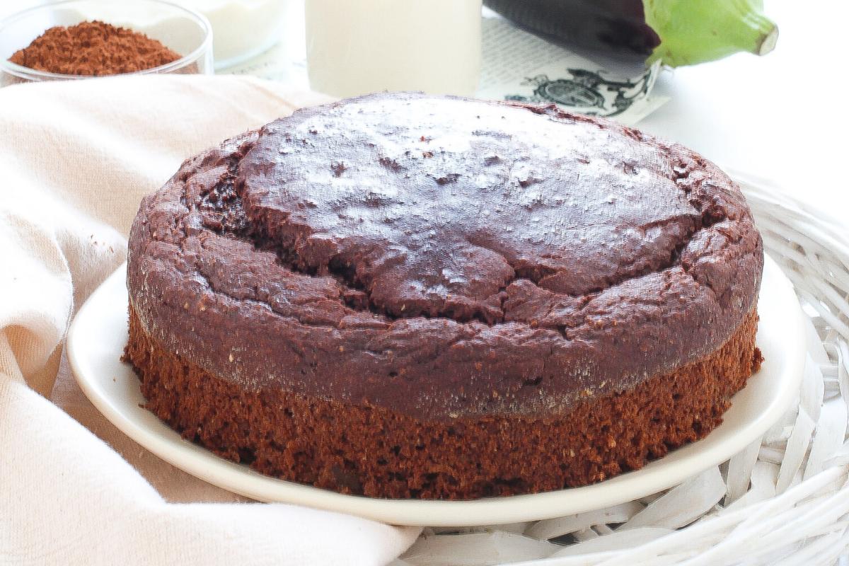 Torta dolce di melanzane e cacao con ricotta | senza zucchero