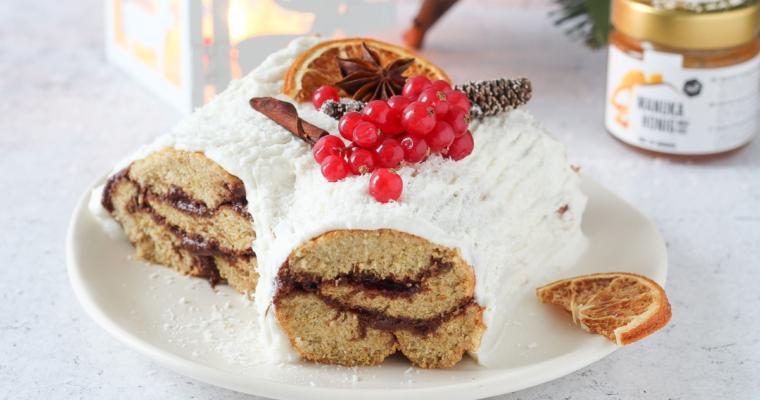 Tronchetto di Natale innevato senza zucchero e burro
